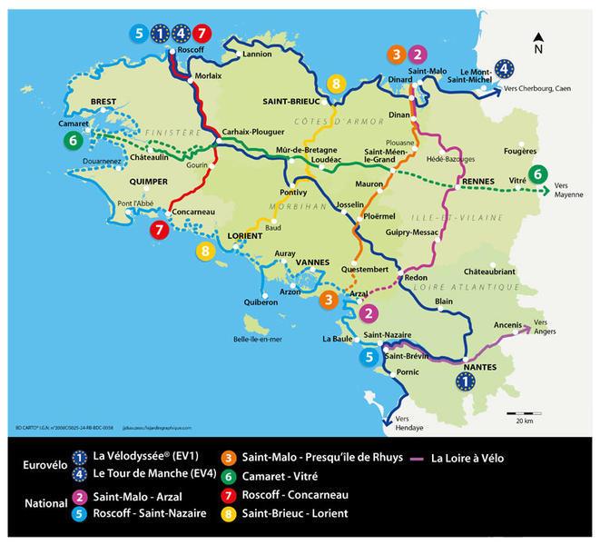 Carte du réseau des Voies Vertes en Bretagne